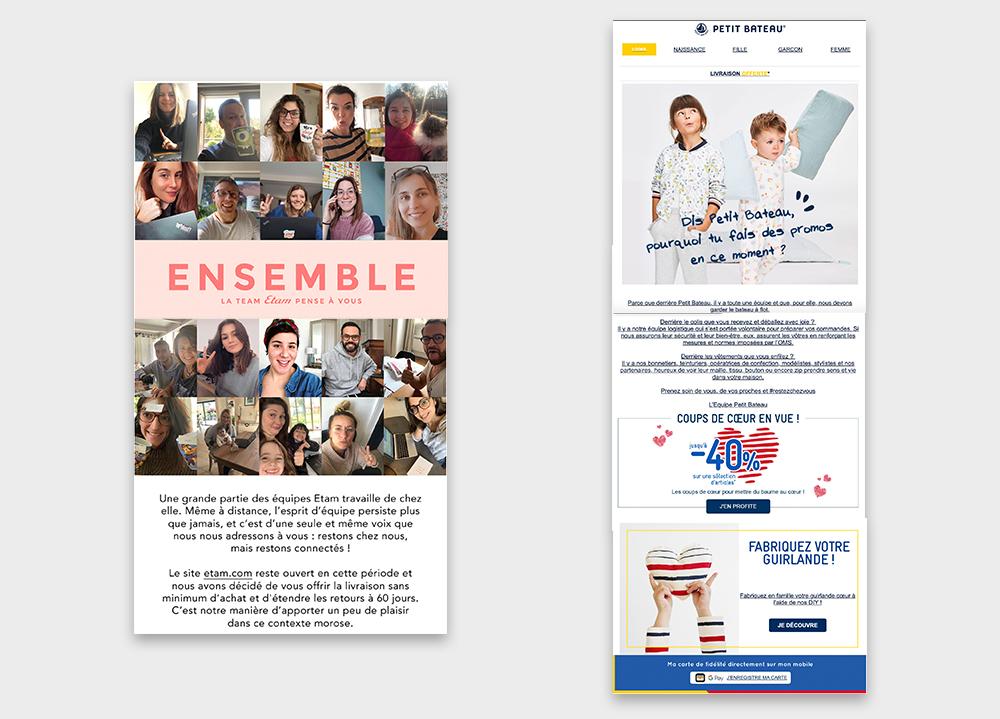 newsletter top com coronavirus retail Etam et Petit Bateau