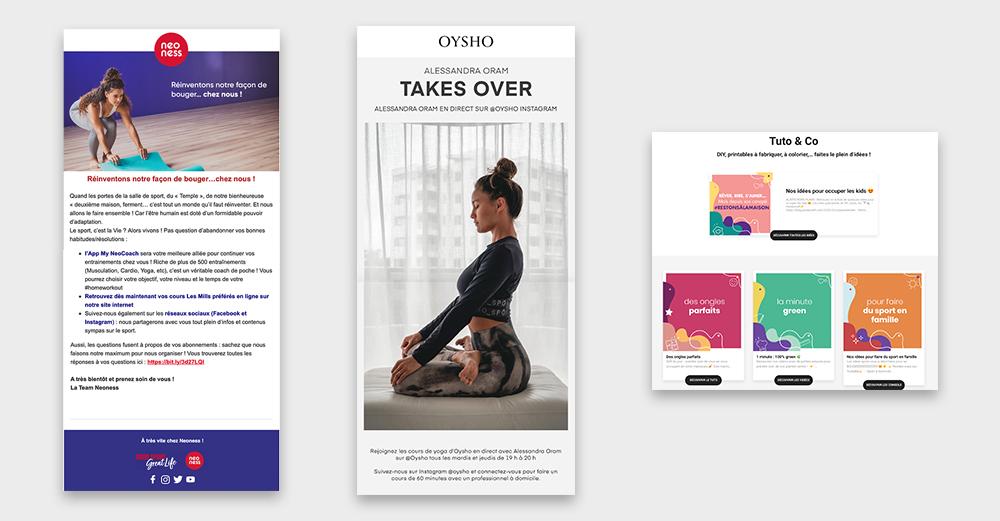 newsletter top com coronavirus retail Oysho Neoness et Carmila