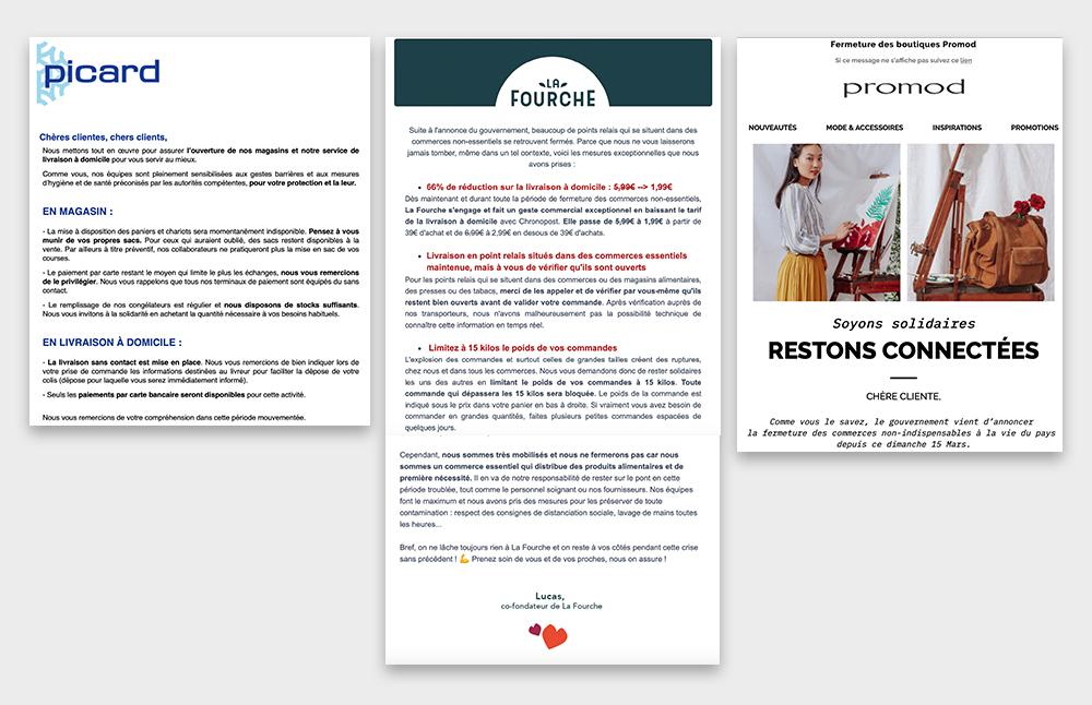 newsletter top com coronavirus retail Picard, La Fourche, Promod