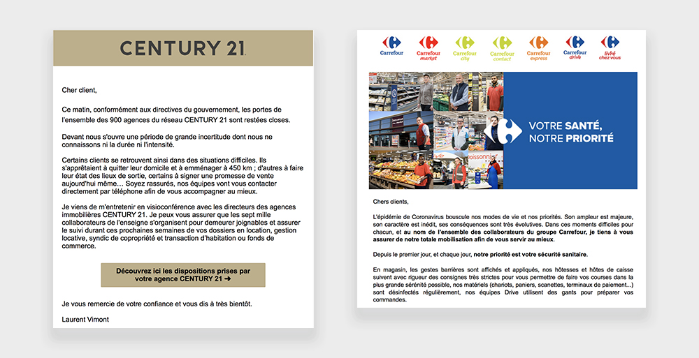 newsletter top com coronavirus retail Century 21 Carrefour